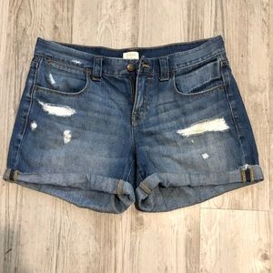J Crew BNWOT distressed denim shorts light wash